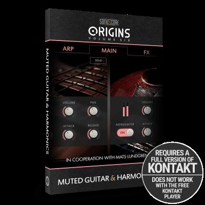 Origins Volume Six: Muted Guitar and Harmonics by Sonuscore - modern guitar arpeggios - Product Packshot | Requires Full Version of Native Instruments Kontakt