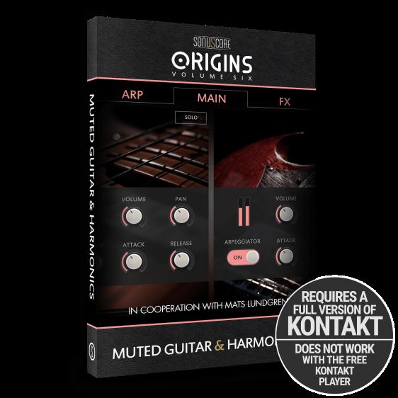 Origins Volume Six: Muted Guitar and Harmonics by Sonuscore - modern guitar arpeggios - Product Packshot   Requires Full Version of Native Instruments Kontakt