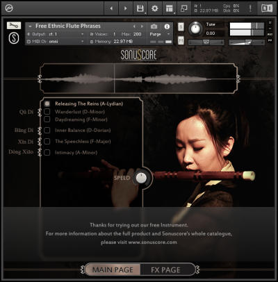 Free Ethnic Flute Phrases by Sonuscore GUI Screenshot Main Page