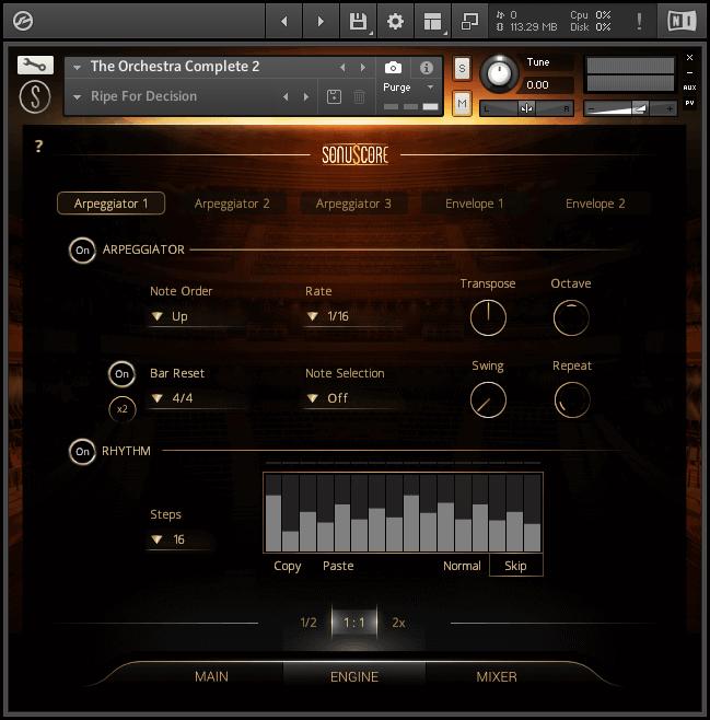 orchestra vst user interface arpeggiato